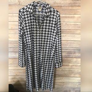 Anne Klein Houndstooth Long Sleeve Shirt Dress